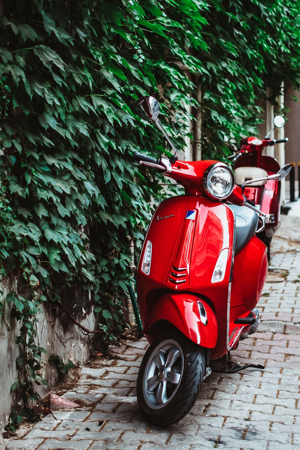 red automatic scooter