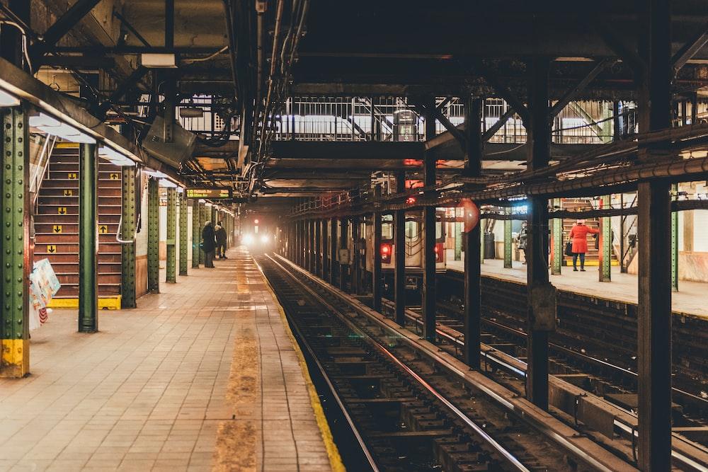 train approaching subway station