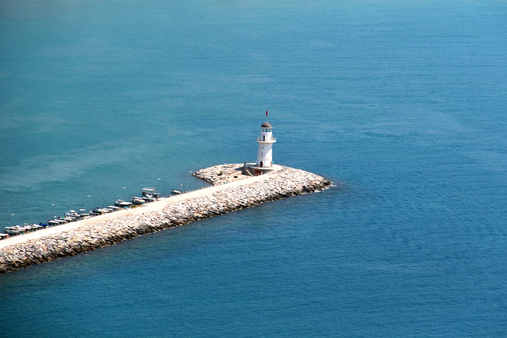 lighthouse surrounded by sea