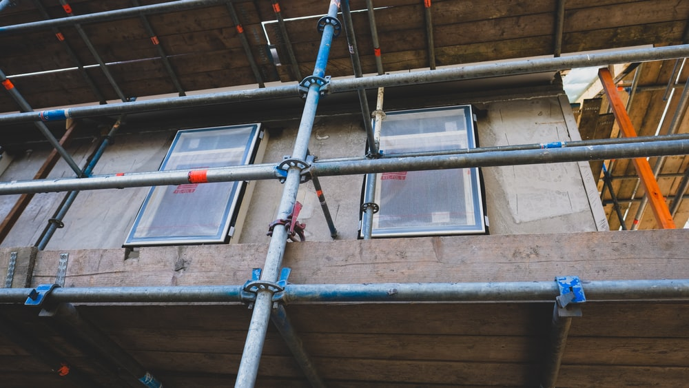close view of scaffolding attach to the building