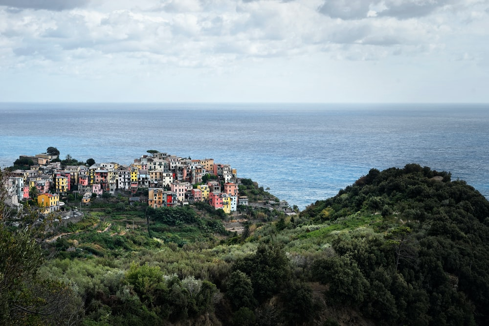 aerial photography of buildings on cliff overlooking sea