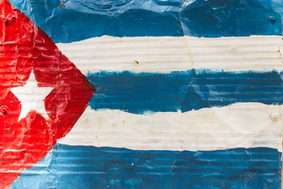 blue, white, and red flag cuba zoom background