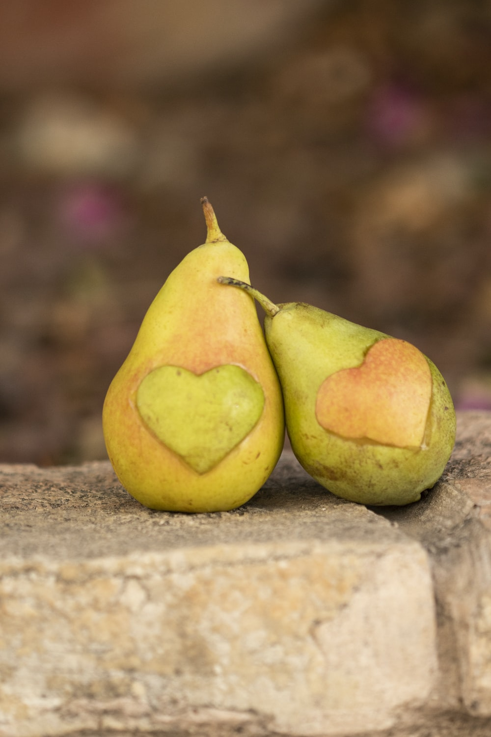 two pears on concrete surface