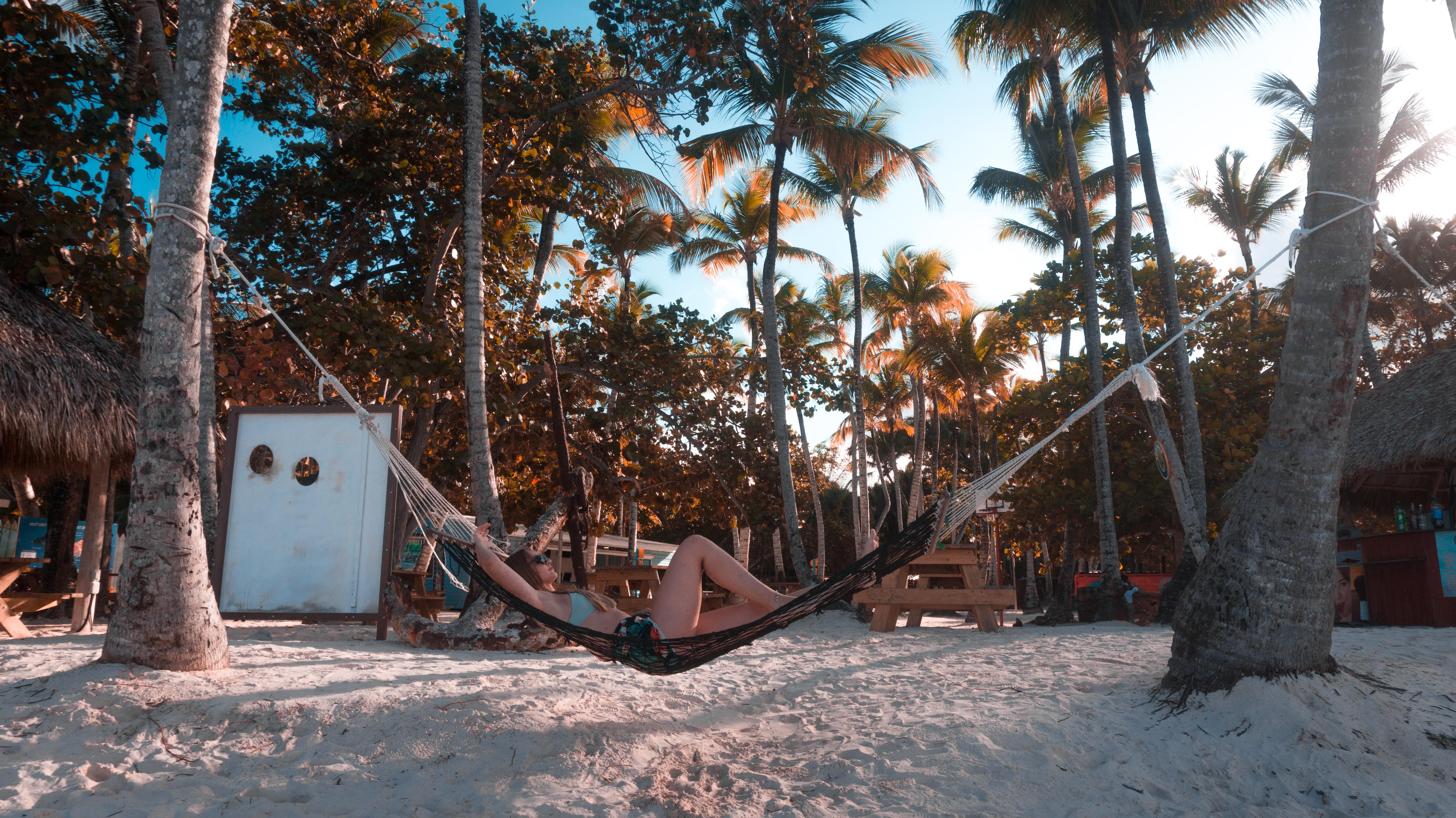 woman lying on hammock beside beach