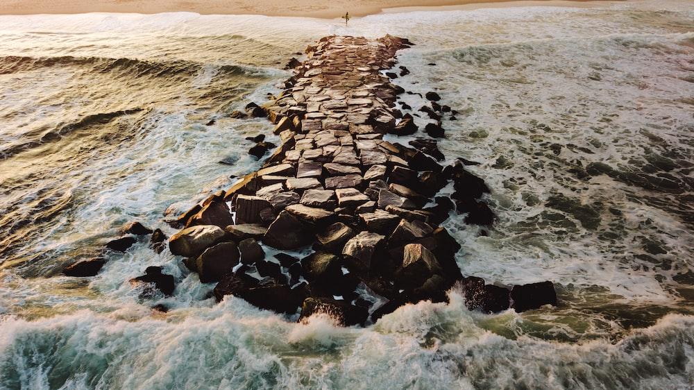 rock pathway on beach