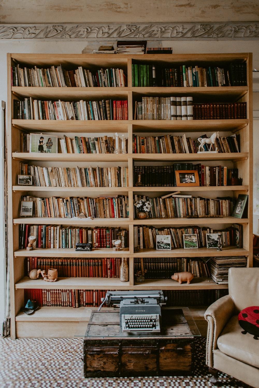 brown wooden bookshelf