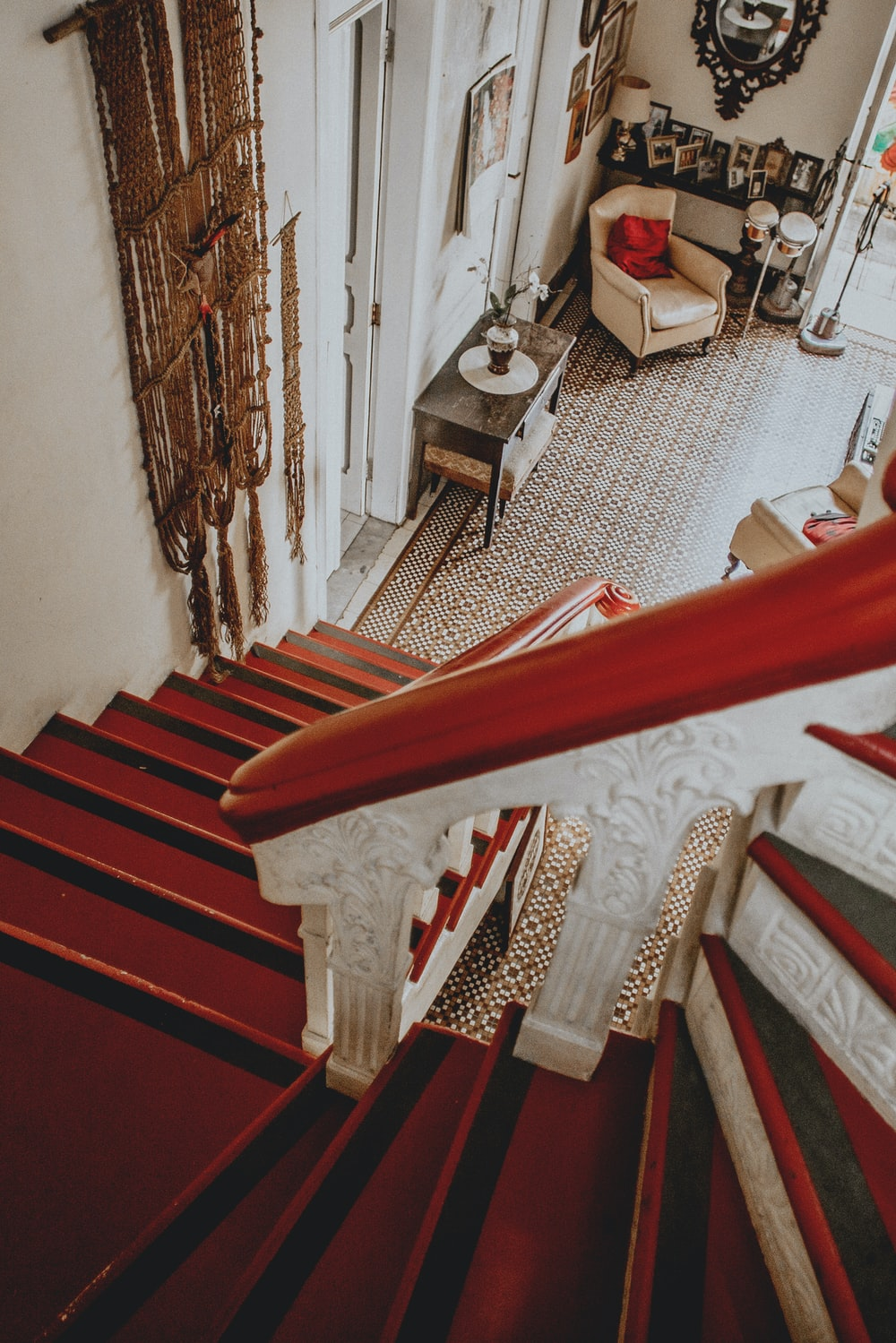 red and white wooden stairs