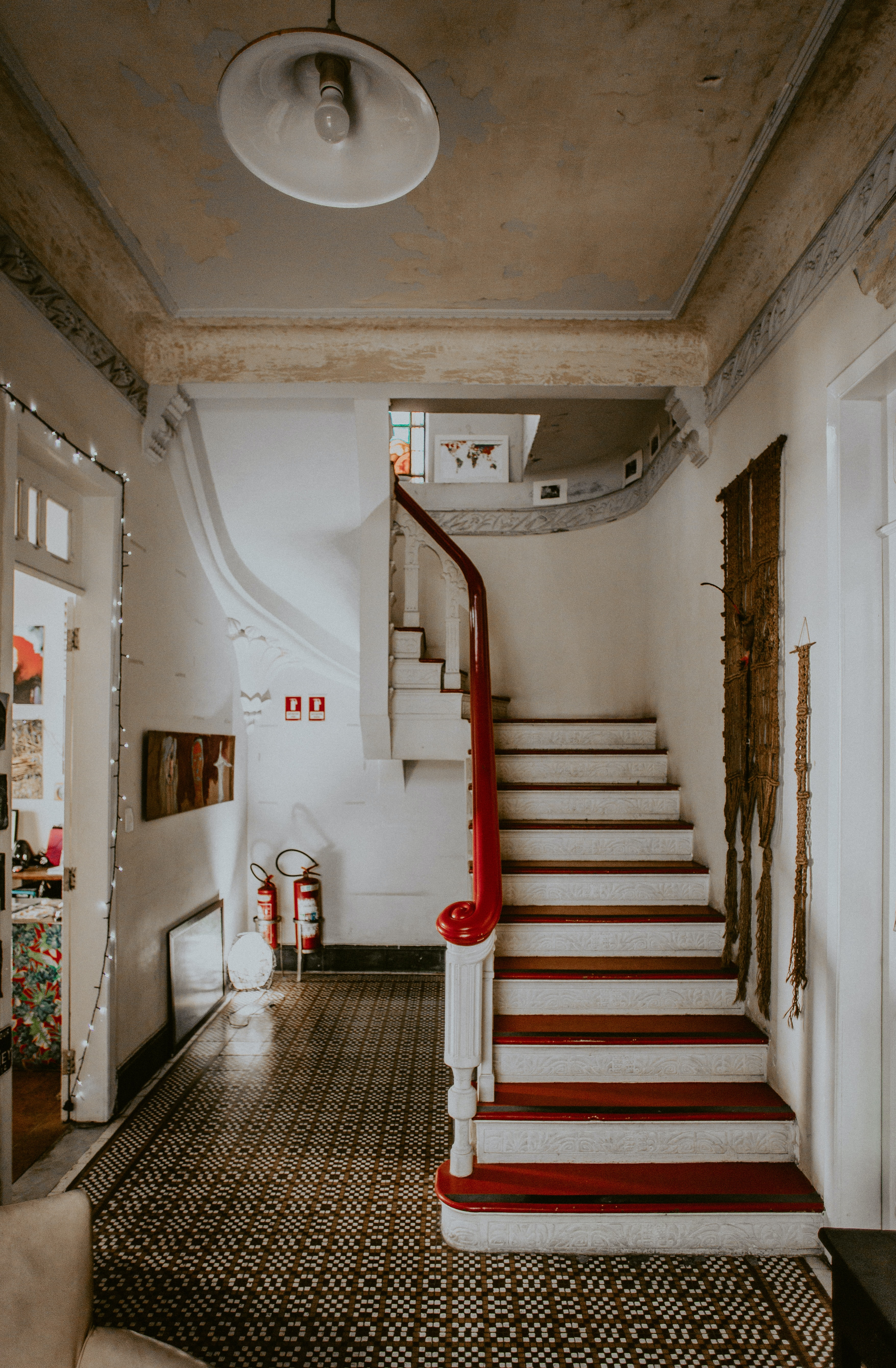 white and red staircase