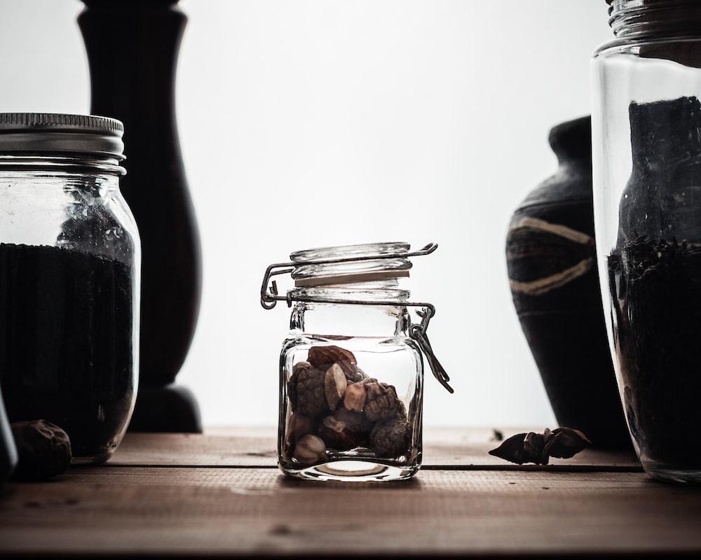 opened glass jar