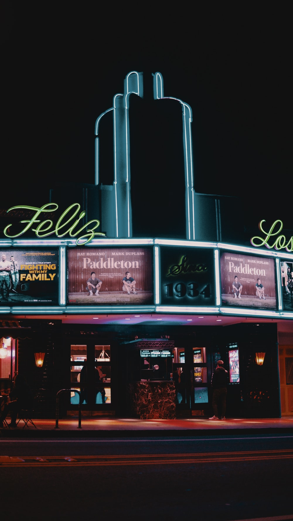 lighted Feliz establishment at night
