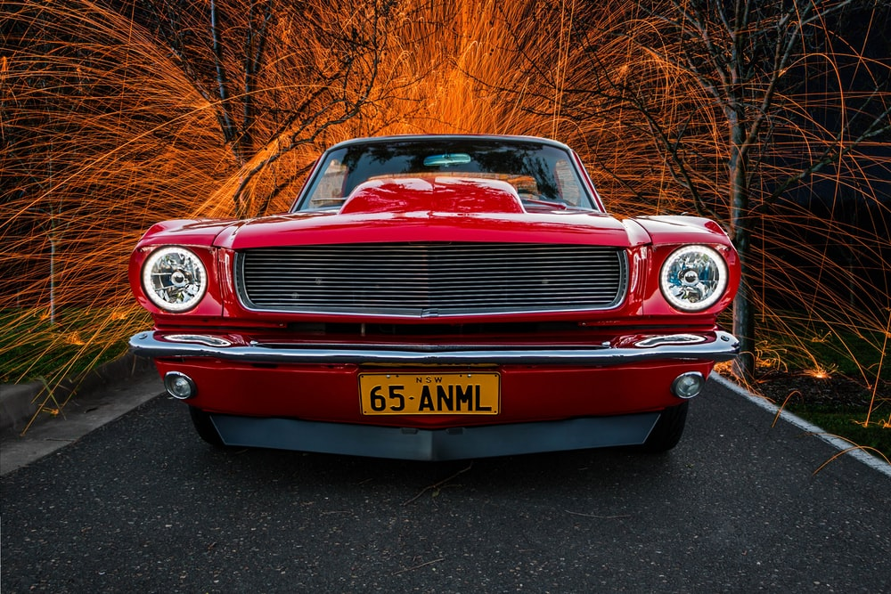 red classic car in high saturation photography
