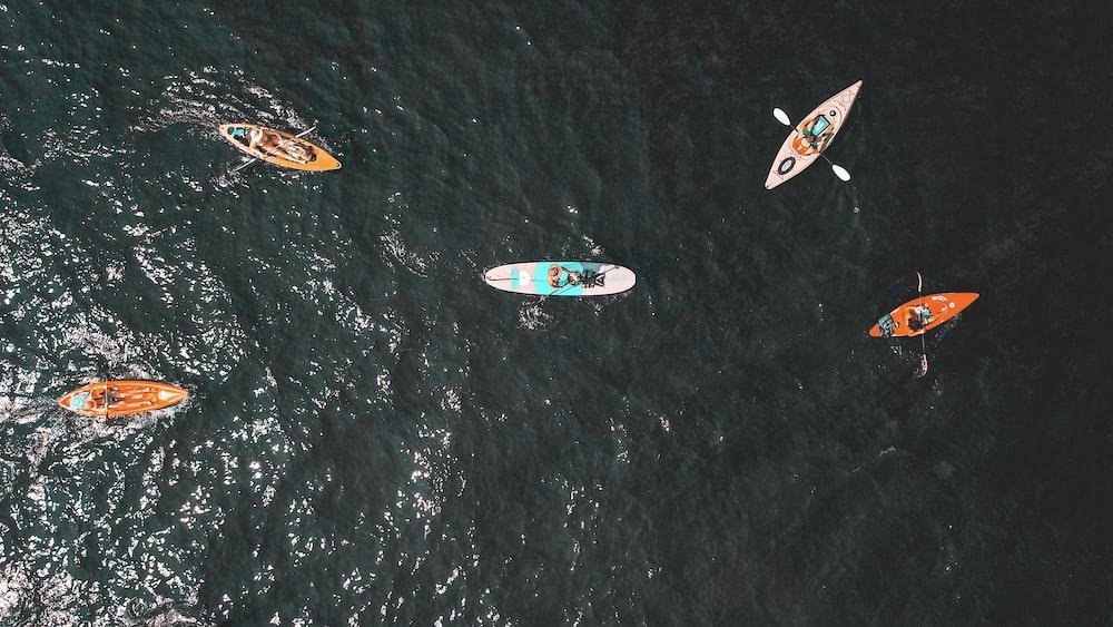 aerial people riding kayats
