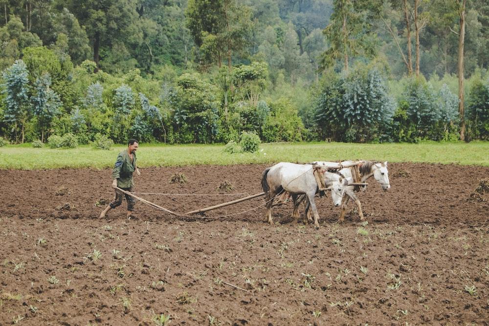 man doing flowing soil