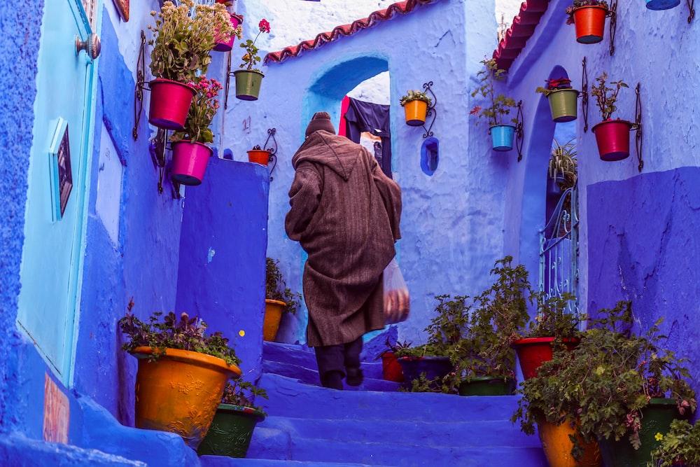man walks on purple stairs