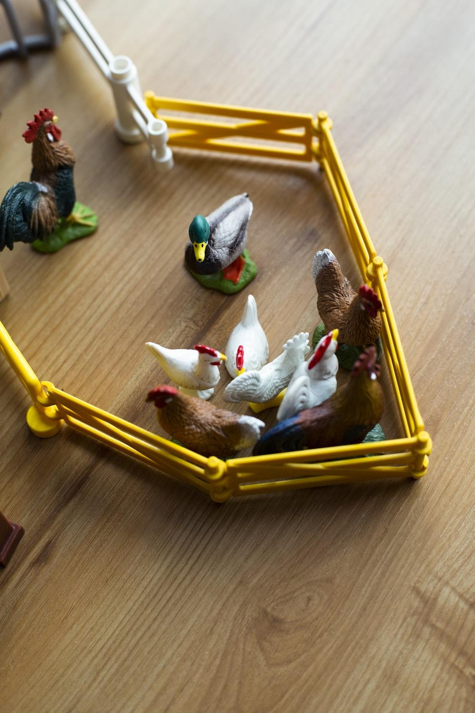 multicolored chicken pen toy