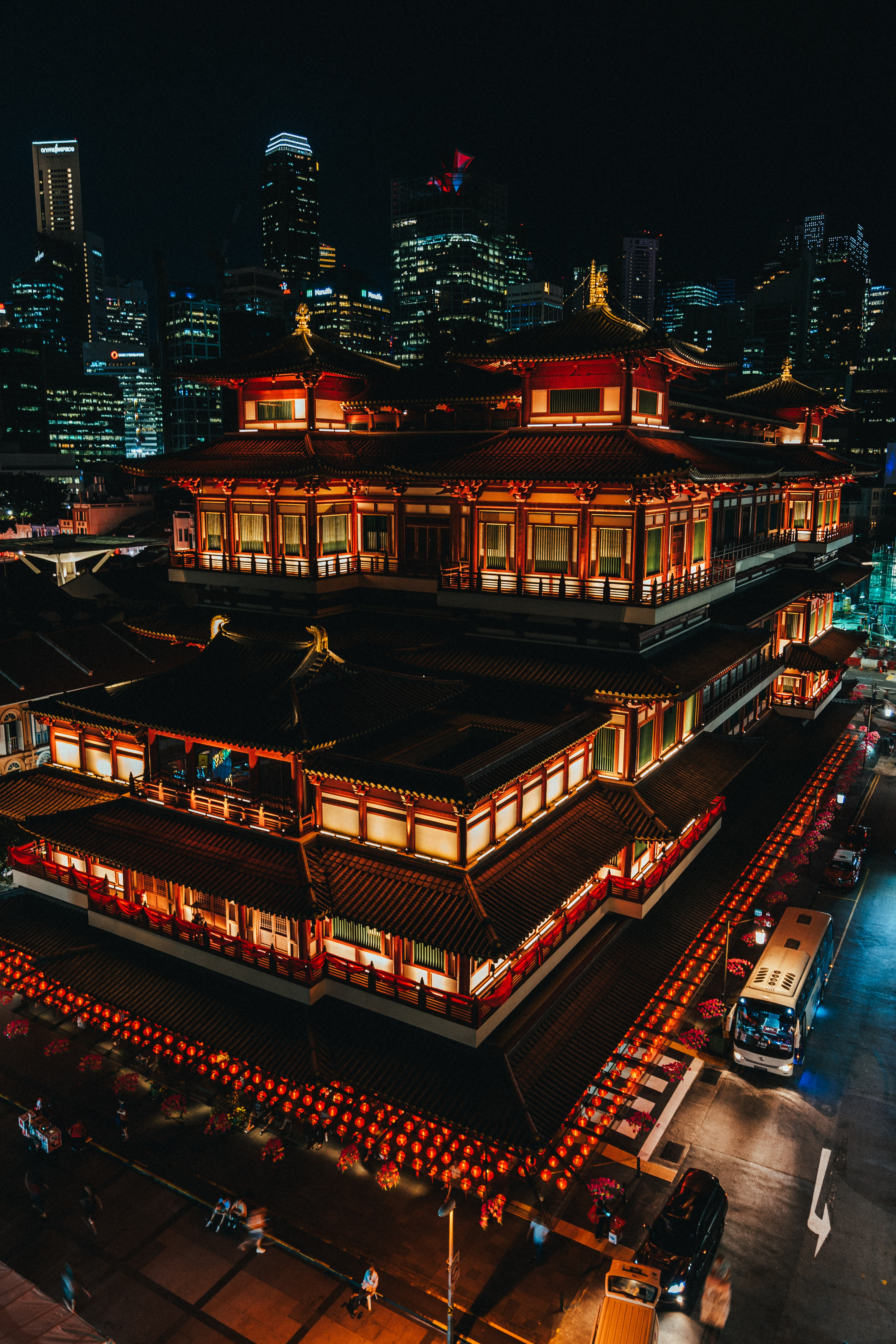 red lighted temple at night