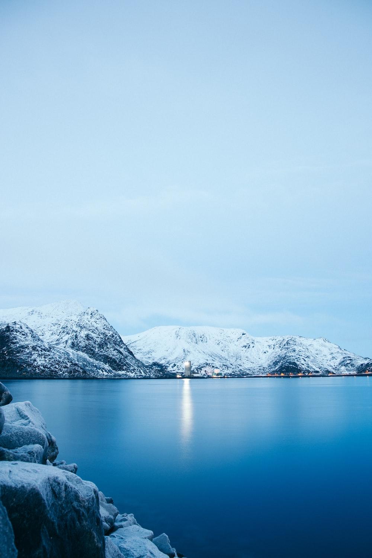 lake near snow mountain raneg