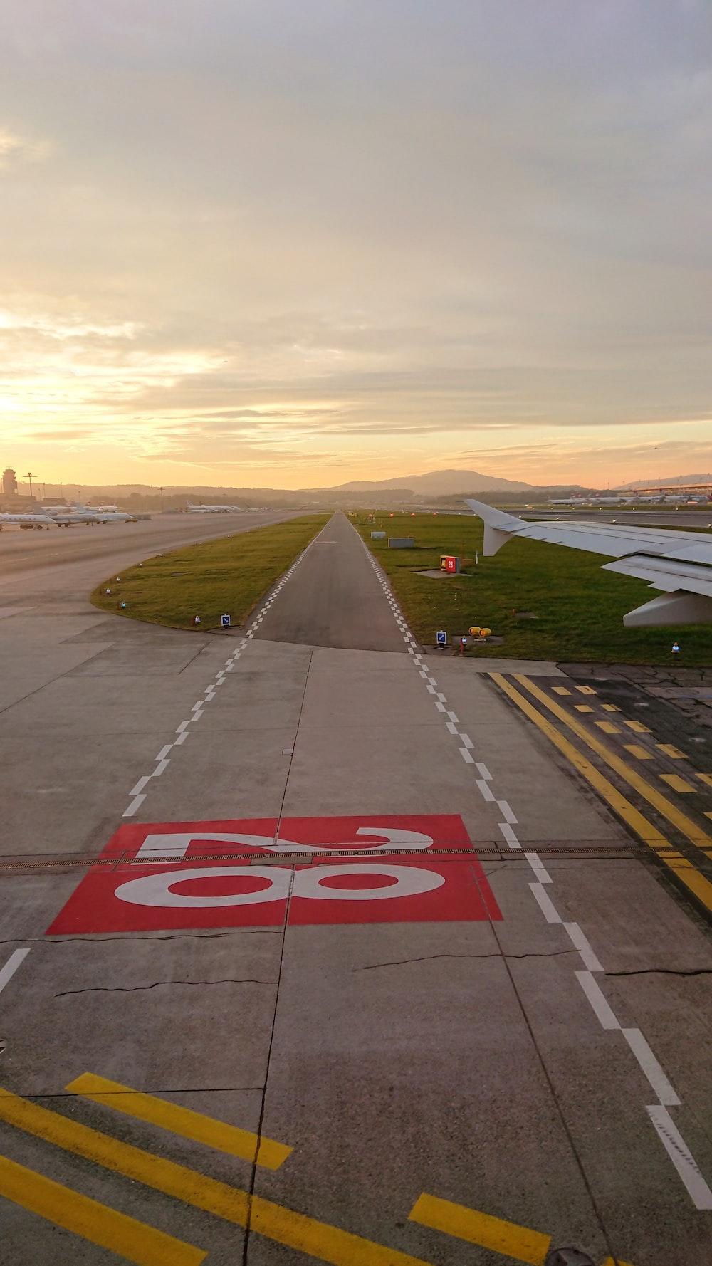 grey airport pavement