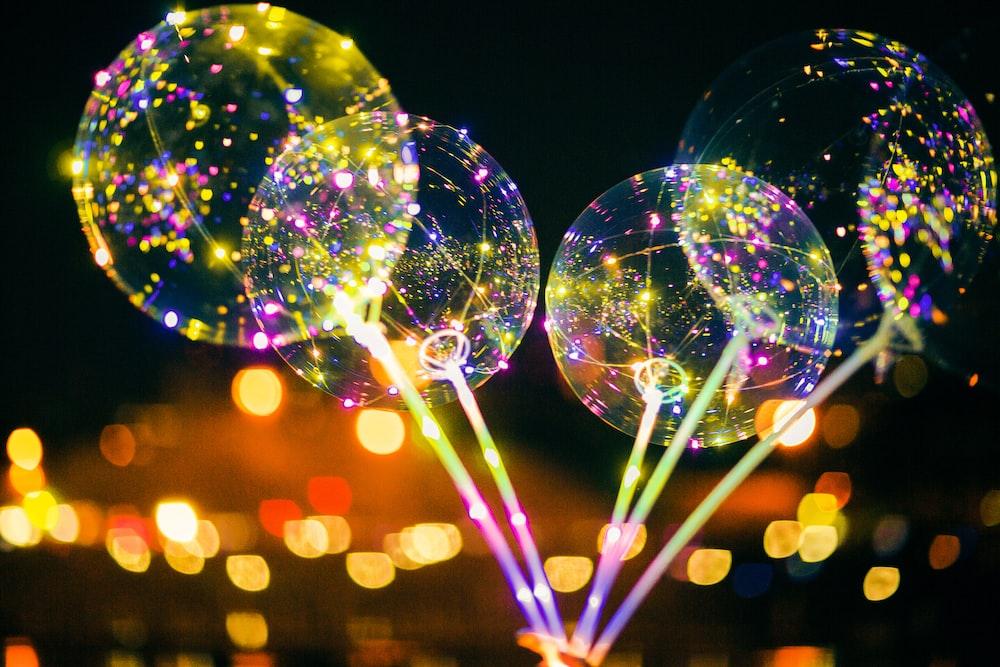 bokeh photography of bubbles