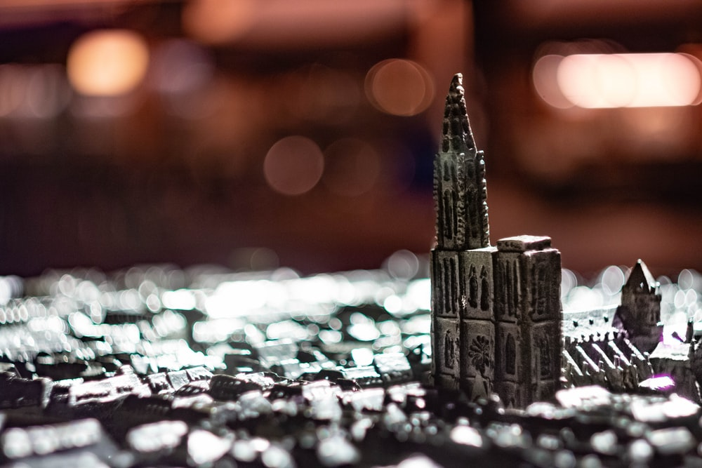 silver-colored cathedral miniature