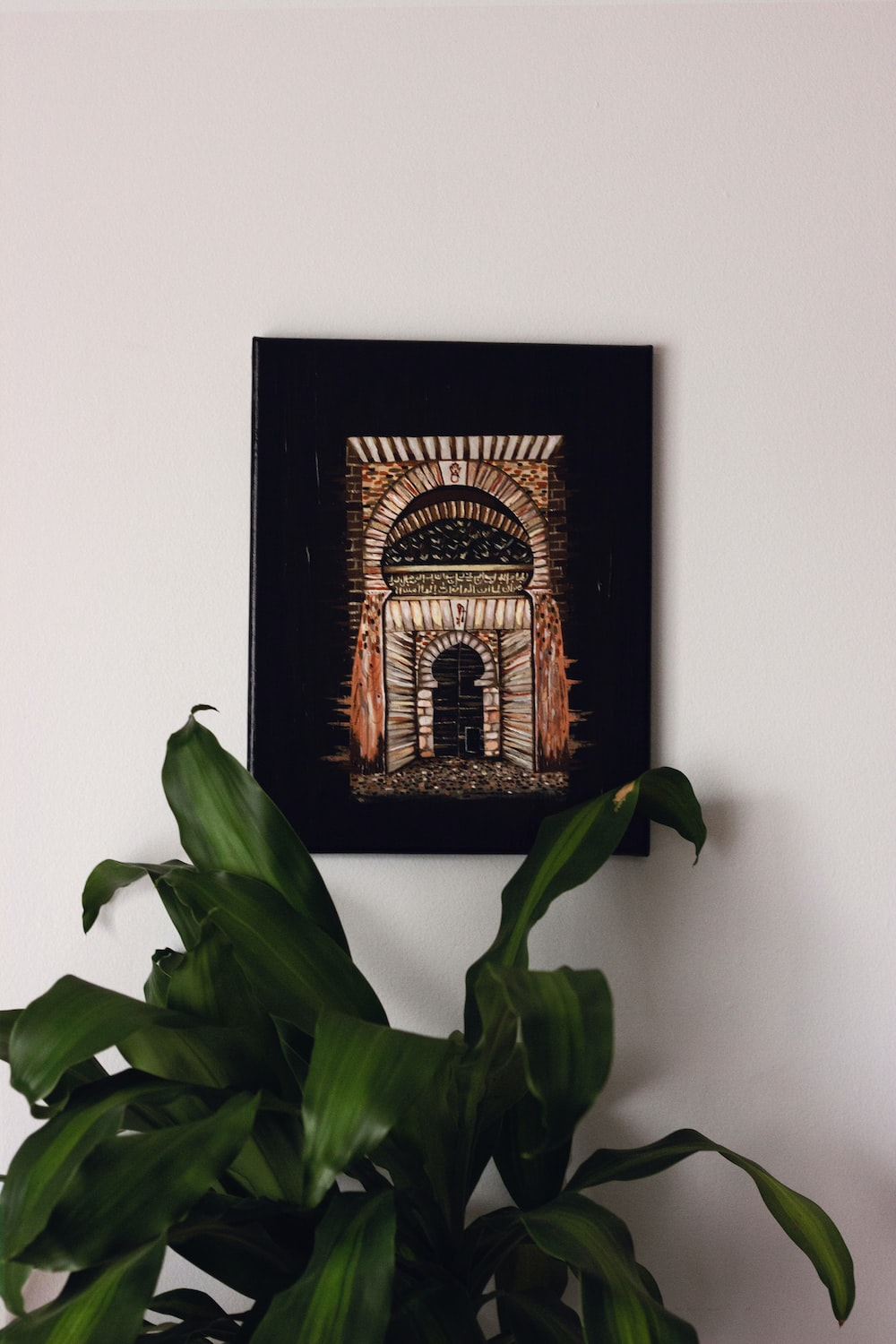 green-leafed plant besides black and brown wall decor