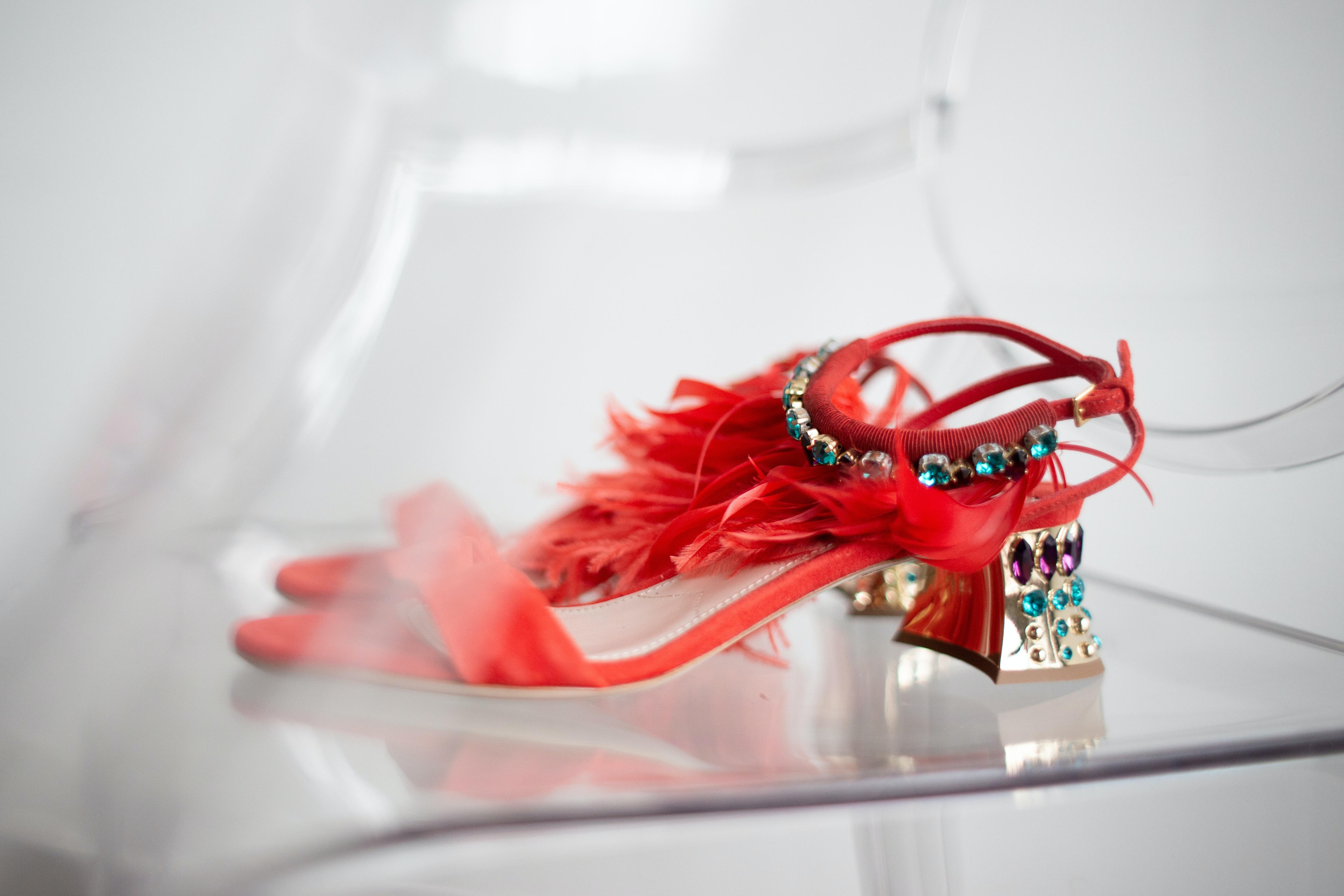 red heel sandal