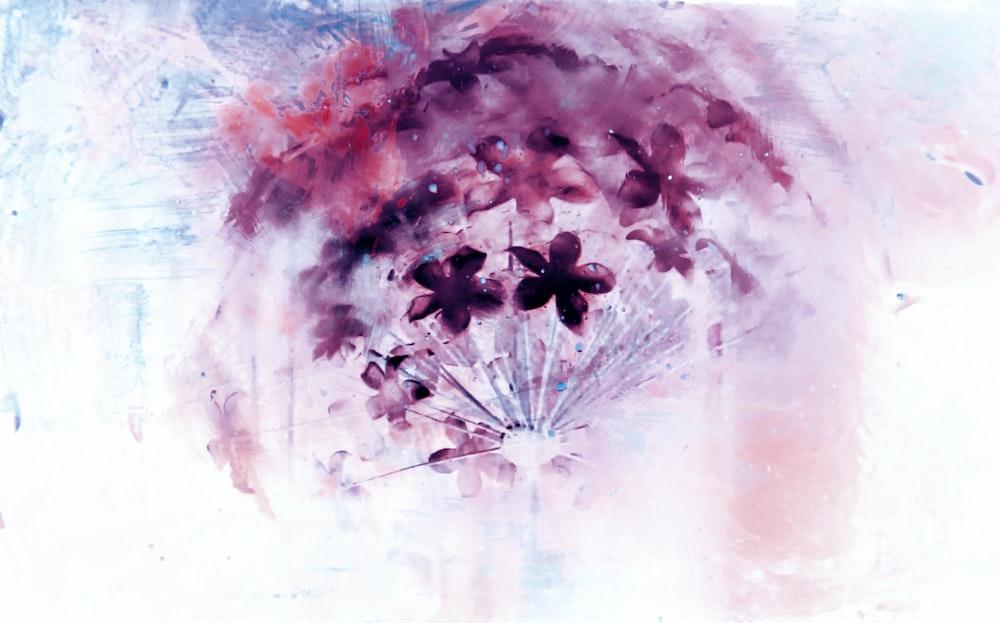 purple petaled flowers painting