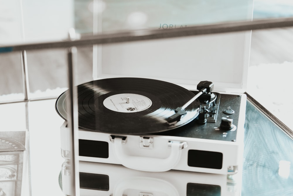 black and white vinyl player