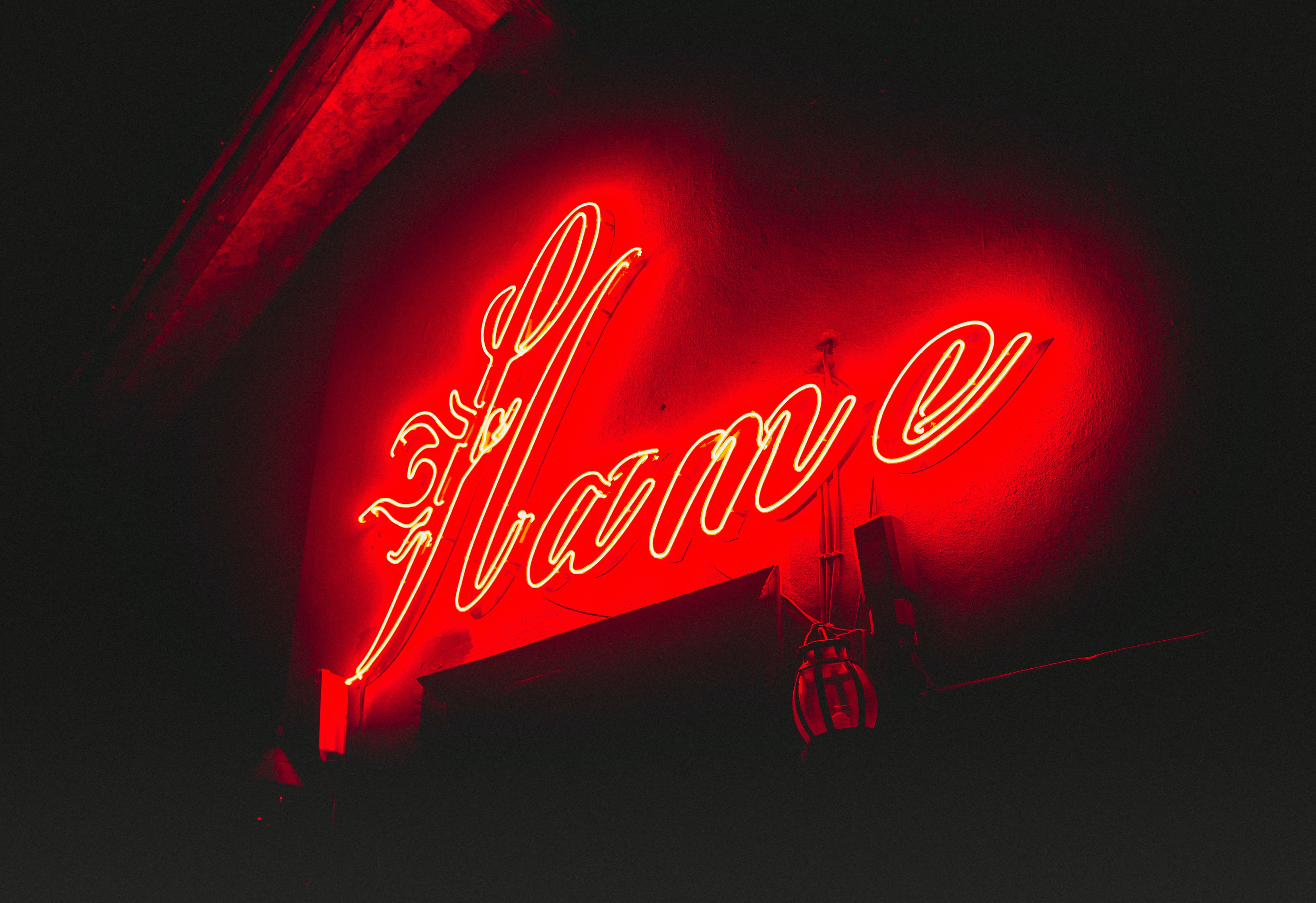 Flame neon light signage