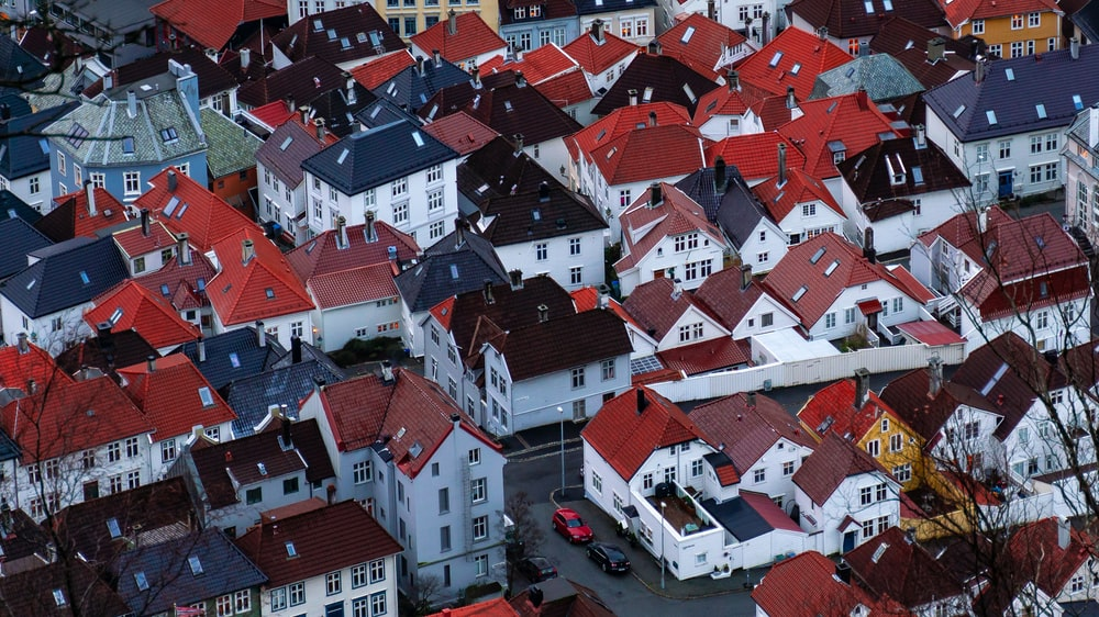white painted houses in high-angle view photo