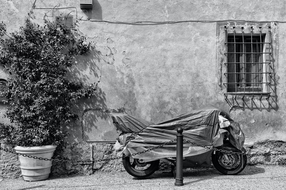 grayscale photo of motorcycle