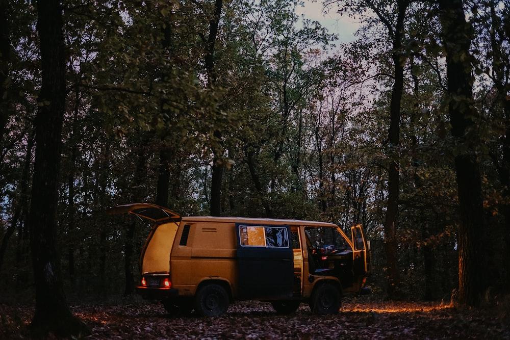 open brown van in forest