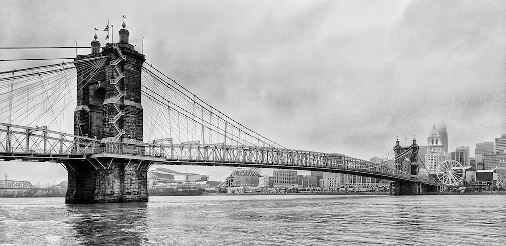 grayscale photo of bridge