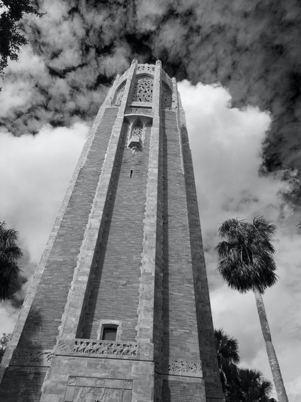 grayscrale photography of concrete tower