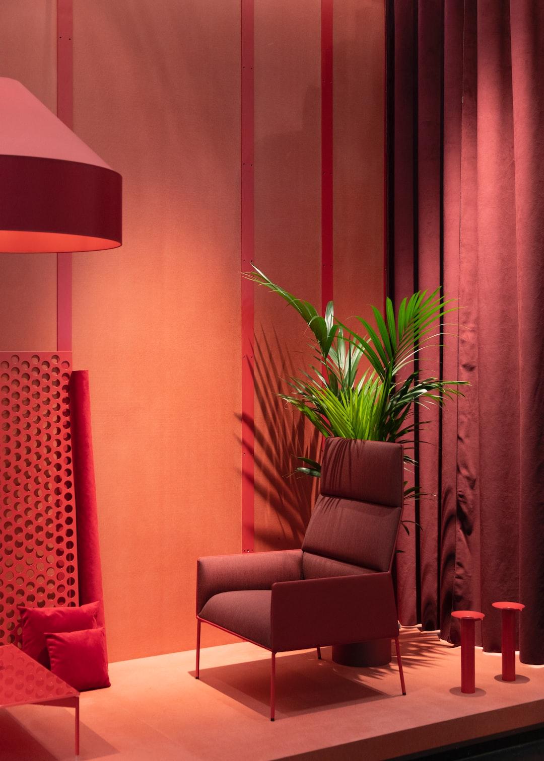 Empty Gray Sofa Chair Beside Palm Tree Photo Free