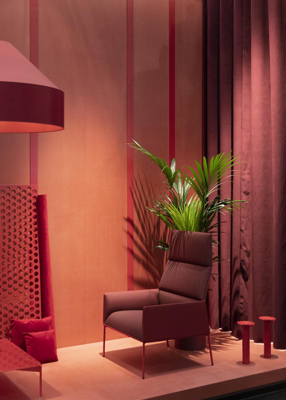empty gray sofa chair beside palm tree