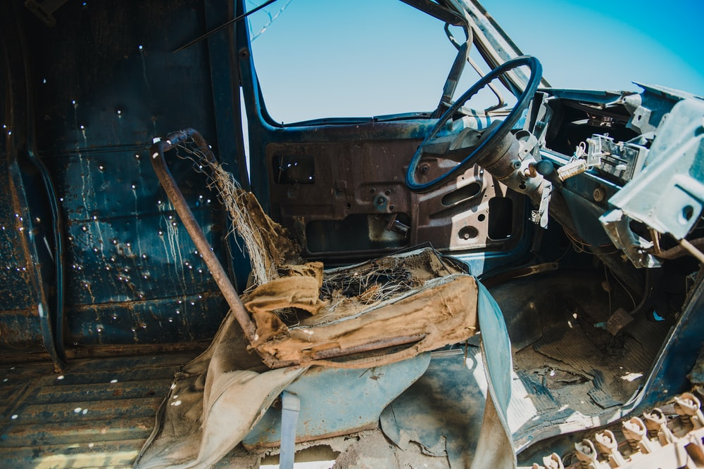 wrecked vehicle interior