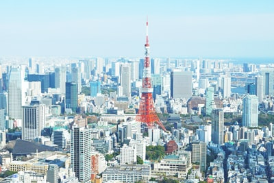aerial photography of red tower surrounded by buildings during daytime tokyo zoom background