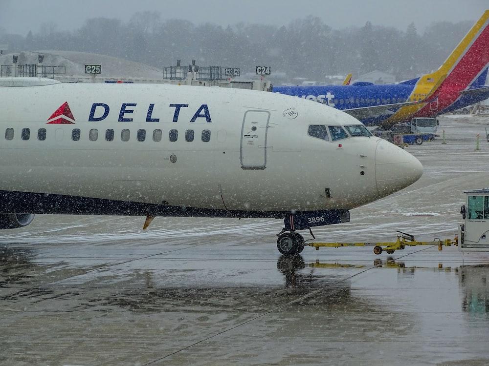 white Delta passenger plane