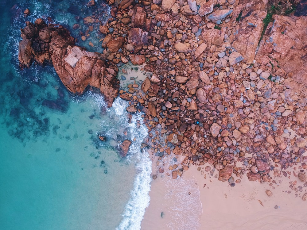 aerial photography of brown rock formation