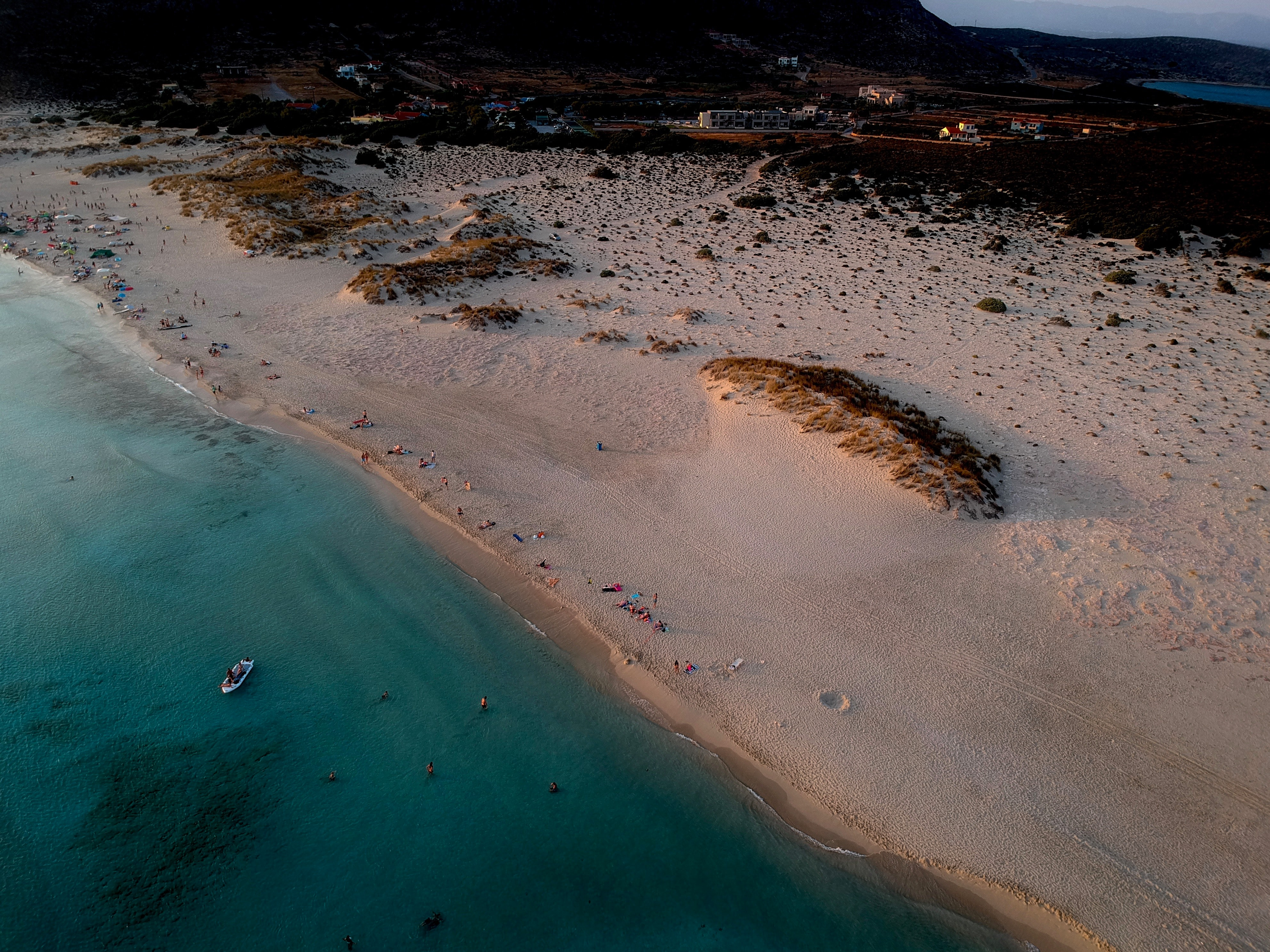 aerial photography of people on shore during daytime