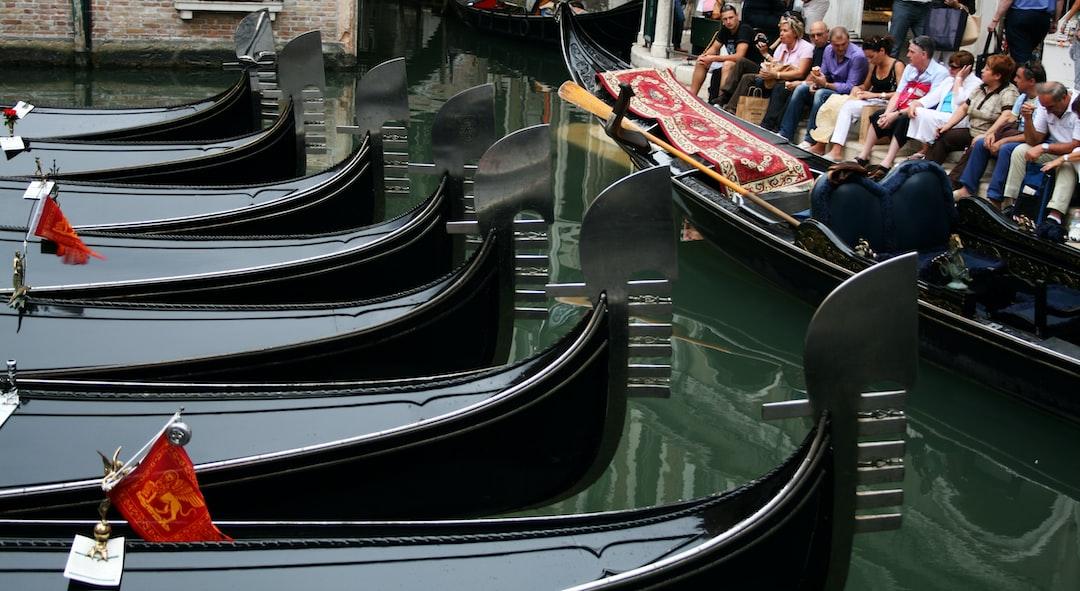 Gondolas parked near Piazza San Marco in Venice, Italy.