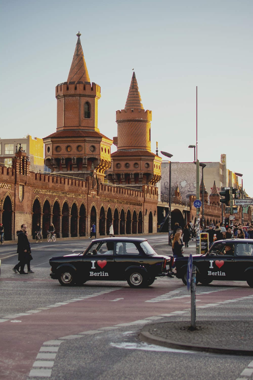 black car near cathedral