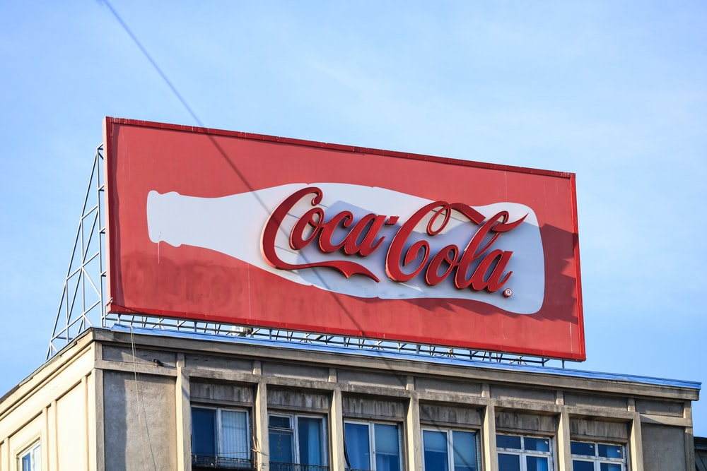 architectural photography of Coca-Cola tarpaulin