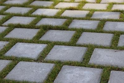 gray brick pavement