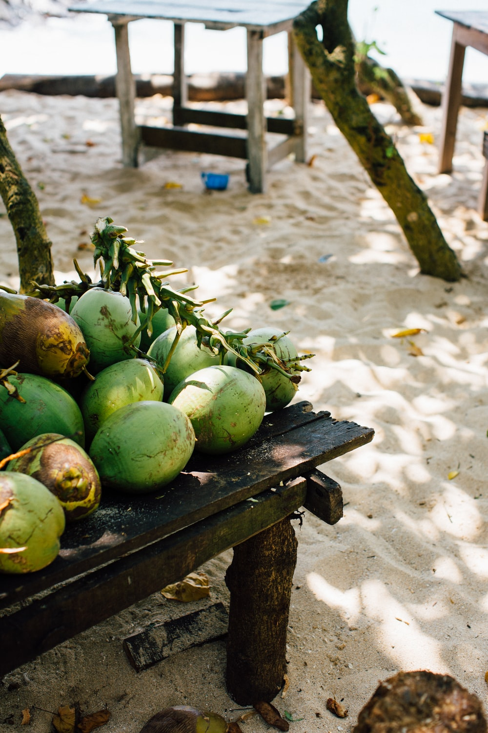 green coconuts on table