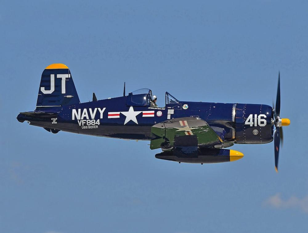 blue JT Navy fighter plane