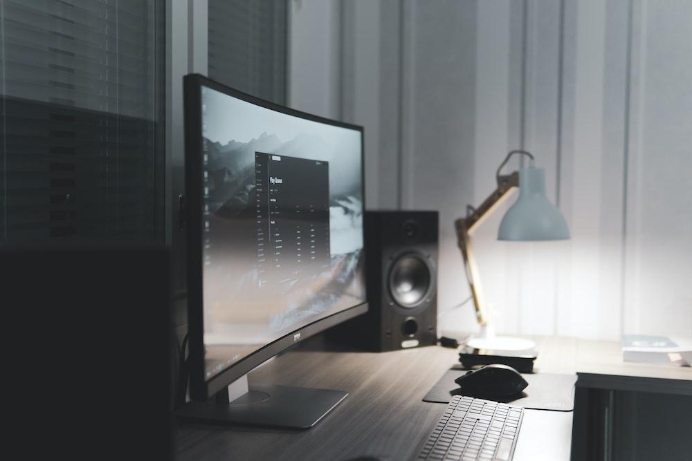 turned-on flat screen monitor