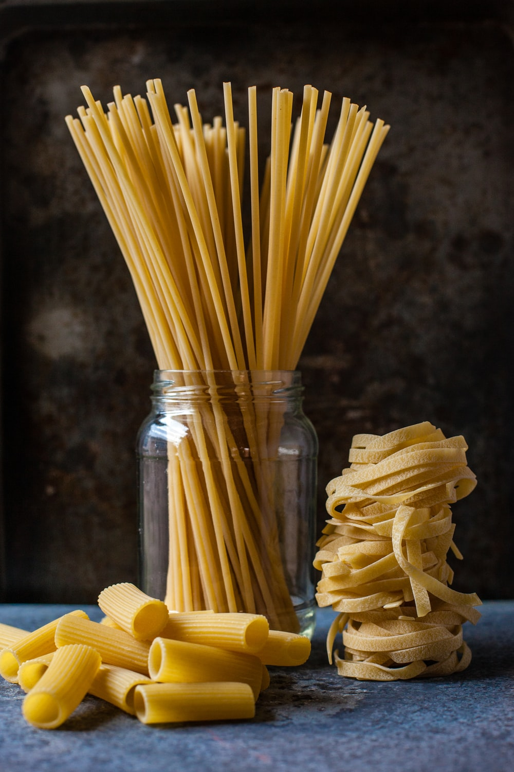 uncooked three pastas