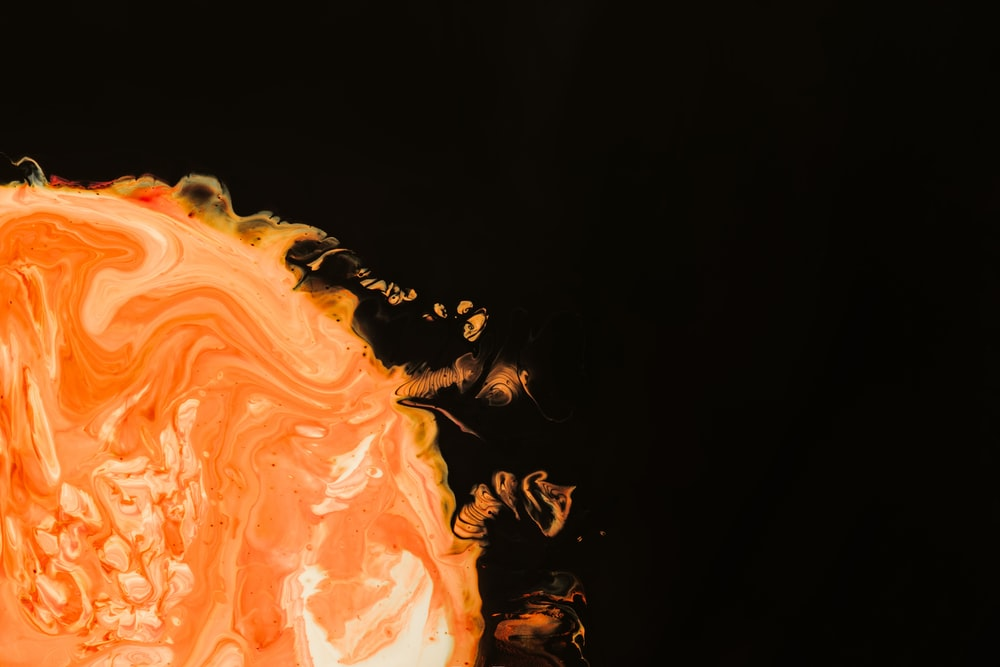 orange sun on black background